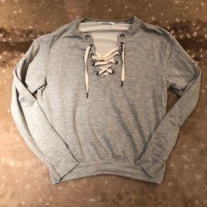 Project Social T Lace-up Grey Sweatshirt Sz S